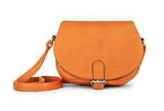 Stylish youth orange leather bag Royalty Free Stock Photos