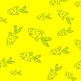 A stylish youth summer pattern in a marine style green fish on yellow background. A stylish youth summer pattern in a marine style green fish on a yellow Royalty Free Stock Photos