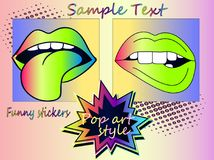 Set - sexy neon lips Stock Images