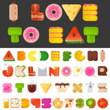 Stylish yummy food letters and numbers latin font. Stylish yummy funny food letters and numbers latin font. Snack A to Z typeset alphabet collection. Modern Royalty Free Stock Images