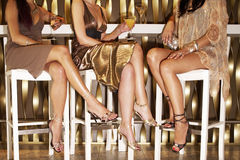 Stylishly Dressed Women Sitting At The Bar royalty free stock photos