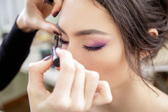 Stylist applying mascara on eyelashes of the model. Beautiful model Royalty Free Stock Images
