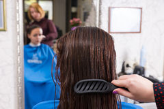 Stylist Brushing Hair of Brunette Client in Salon Stock Photography