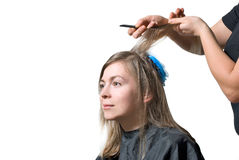 Stylist cutting hair of young blonde woman. Stock Photos