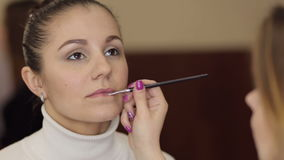 Stylist does make-up to a young brunette. stock video