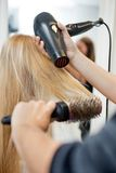 Stylist Drying Woman's Hair In Hairdresser Salon Royalty Free Stock Images