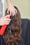 Stylist with hair spray making hairdo at salon Royalty Free Stock Photography