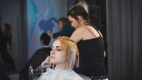 Stylist hairdresser does a professional paint on the hair of his client. Girl in black dress sitting in a chair and relax stock video footage