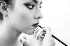 Stylist hand doing professional lips makeup with brush. Beautiful model. Isolated on white background. Grayscale Stock Image