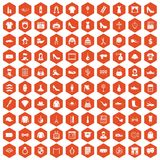 100 stylist icons hexagon orange. 100 stylist icons set in orange hexagon isolated vector illustration Stock Photography