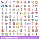 100 stylist icons set, cartoon style. 100 stylist icons set. Cartoon illustration of 100 stylist vector icons isolated on white background Stock Photo