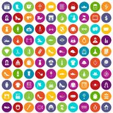 100 stylist icons set color. 100 stylist icons set in different colors circle isolated vector illustration Stock Images