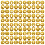 100 stylist icons set gold. 100 stylist icons set in gold circle isolated on white vector illustration Stock Image