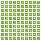 100 stylist icons set grunge green. 100 stylist icons set in grunge style green color isolated on white background vector illustration Stock Illustration