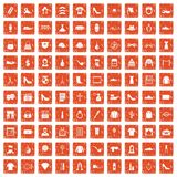 100 stylist icons set grunge orange. 100 stylist icons set in grunge style orange color isolated on white background vector illustration Stock Photography