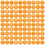 100 stylist icons set orange. 100 stylist icons set in orange circle isolated on white vector illustration stock illustration