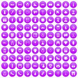 100 stylist icons set purple. 100 stylist icons set in purple circle isolated on white vector illustration Royalty Free Stock Image
