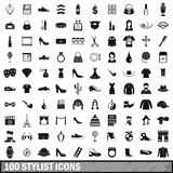 100 stylist icons set, simple style. 100 stylist icons set in simple style for any design vector illustration Royalty Free Illustration
