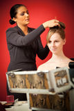 Stylist Making Up The Bride Stock Photography