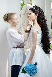 Stylist takes care of the bride. Image of the stylist takes care of the bride Royalty Free Stock Image