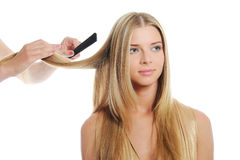 Stylist updo young blonde woman Stock Photos