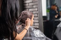 Stylist wiping off the remains of paint with a cotton disc from. The head of young women while she is sitting in hairdresser armchair in beauty salon Stock Images