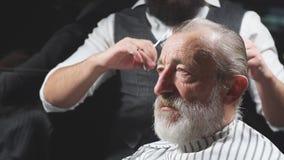 Styliste en coiffure de visite d'homme supérieur dans le salon de coiffure banque de vidéos