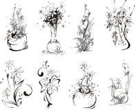 Stylistic blommadesigner stock illustrationer