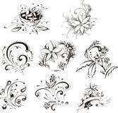 Stylistic dekorativa blommabeståndsdelar vektor illustrationer