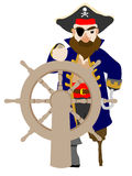 Stylistic Male Pirate gripping wooden wheel. Isolated pirate standing next too ship wheel with peg leg and hook hand Stock Photos
