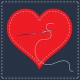 Stylization вышивки с стежками Иллюстрация вектора сшитого сердца, иглы с потоком Предпосылка на день валентинок, Стоковая Фотография RF