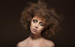 stylization Молодое брюнет с курчавыми волосами Брайна стоковая фотография