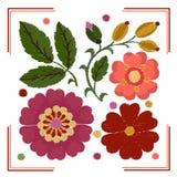 Stylization элементов вышивки цветков, листьев и плода шиповника бесплатная иллюстрация