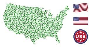 Stylization americano do mapa do agente de nervo Chemical Warfare de WMD ilustração royalty free