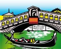 Stylization av den typiska bron i Venedig Royaltyfri Fotografi