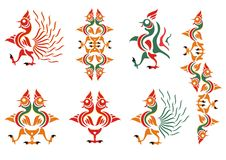 Stylization of a cock. A cock pattern Stock Photography