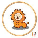 Stylization of cross-stitching children s toys lion. Vector stock illustration
