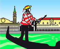 Stylization de uma gôndola na lagoa de Veneza Ilustração Stock