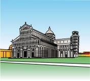 Stylization del campo di miracoli a Pisa fotografie stock libere da diritti