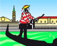Stylization di una gondola sulla laguna di Venezia fotografia stock libera da diritti