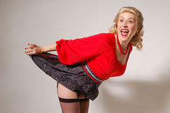 Stylization of happy pin-up girl with dress up Royalty Free Stock Photo
