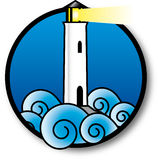 Stylization of a lighthouse in rough sea Stock Image