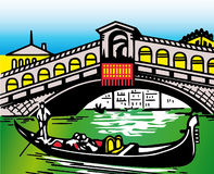 Stylization of typical bridge in Venice Royalty Free Stock Photography