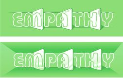 Word empathy green. Stylization of the word empathy in the form of a mirror as an understanding, identity Stock Images
