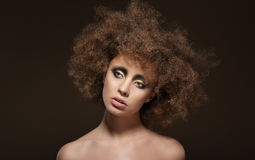 Stylization. Young Brunette with Curly Brown Hairs Stock Photography