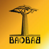 Stylizationsbaum Baobab mit Text Stockbild