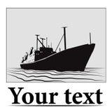 Stylizationsschiff im Text Lizenzfreies Stockfoto