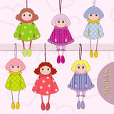Stylize dolls. Decorative stylize dolls in bright dress royalty free illustration