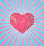 Stylize pink heart on blue light shine BG Royalty Free Stock Images