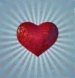 Stylize red heart on blue light shine BG Royalty Free Stock Photo